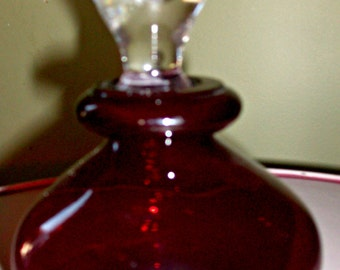 Vintage Deep Ruby Perfume Bottle with Stopper