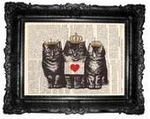 Cat Love- ORIGINAL ARTWORT, Mixed Media - ART Print Hand Painted vintage book