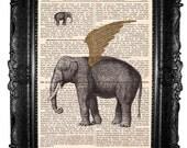Elephant - ORIGINAL ARTWORK  Elephant ART Print and Hand painted print page book, original artwork