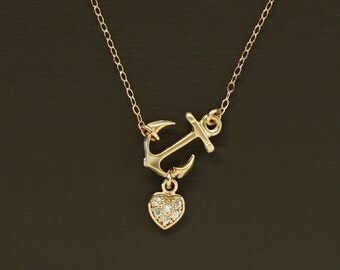 Sideways Gold Anchor Necklace with Pave Heart- 14K Gold Filled Chain