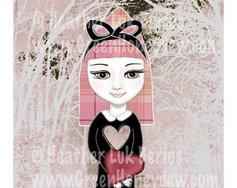 Valentines Gift - Fine Art Print Digital Painting - Fantasy, Whimsical, Pink, Red, Grey, Love, Tartan, Plaid, Girl, Lovers, Girlfriend, Gift