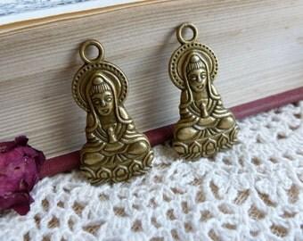 2x Buddha Pendant, Antique Brass Pendant Necklace, Earring Charm C428