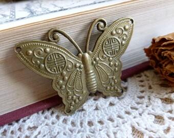 2x Vintage Butterfly Connector Pendant, Antique Brass Pendant Charm C432