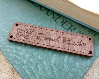 """2x Wooden 'Handmade"""" Label For Sewing Or Nailing To Handmade Items"""