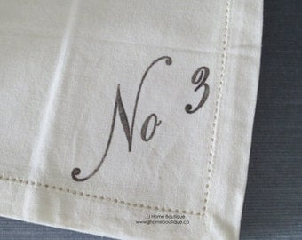 Set of 4 Numbered Napkins
