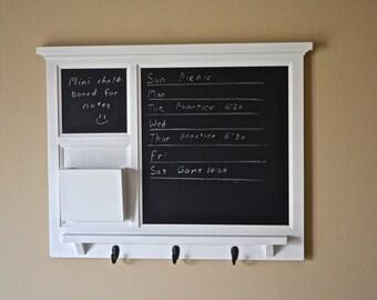 White Mail Organizer, Chalkboards, letter holder Key / Coat / Hat rack -  RusTic