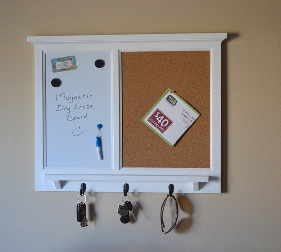 Magnetic White Board Amp Corkboard Organizer Key Coat Hat