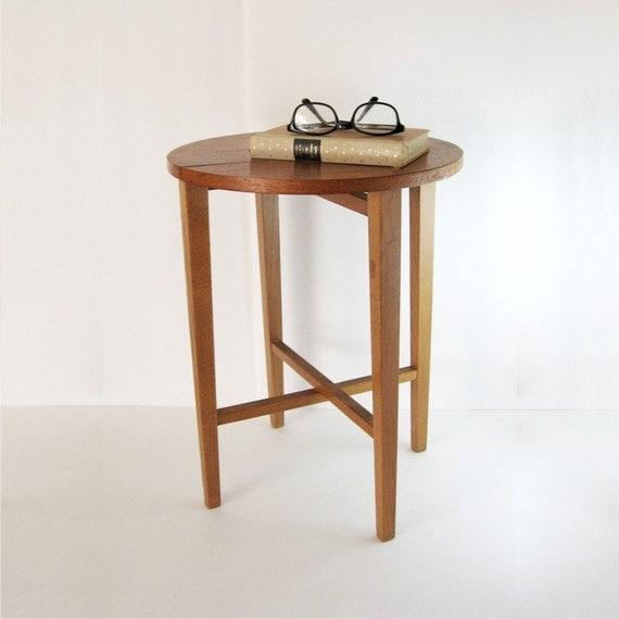 Vintage folding wood side table mid century modern wood home decor