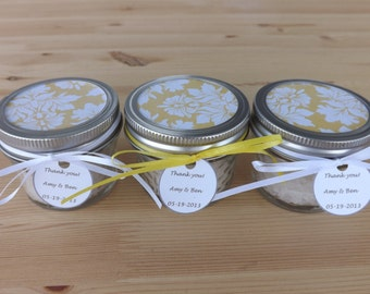 Set of 12- 4oz. Mason Jar Favors- Wedding Jar Favors- Personalized Wedding Favors- Bridal Shower Favors