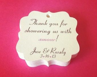 "20 Personalized Favor Tags, 1.75"", Die cut tags, Wedding tags, Thank You tags, Favor tags, Gift tags"
