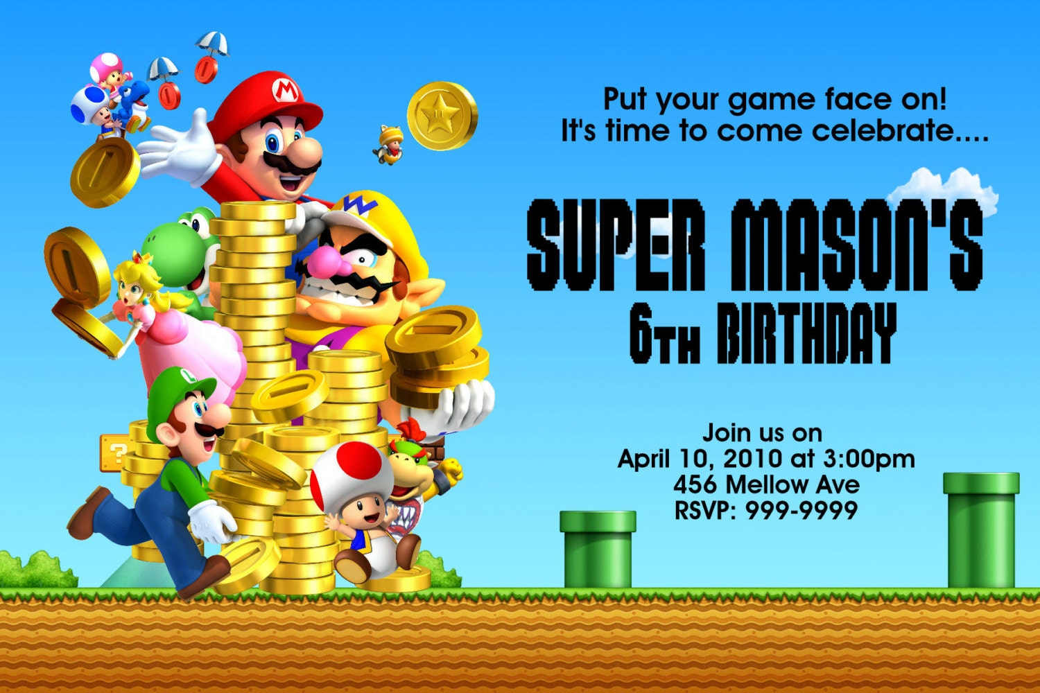Mario Birthday Invitations is an amazing ideas you had to choose for invitation design