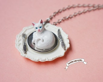 Eat White Cat Necklace funny jewelry kitty food knife fork dish sliver