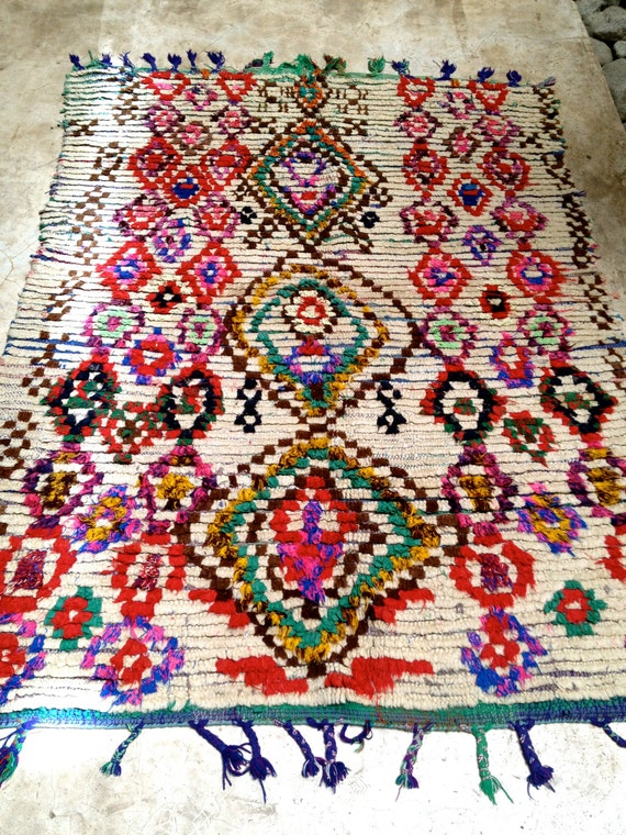 Vintage Moroccan Rug Boucherouite By Bazaarliving On Etsy