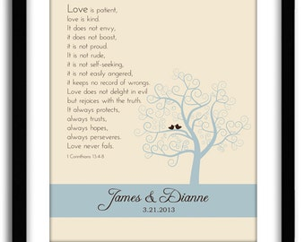Wedding Bible Verse 1st Corinthian 13 Customized Anniversary Tree Print With Names And Date