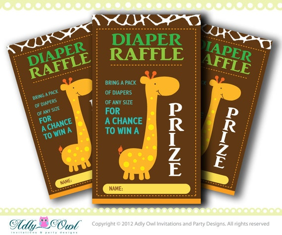 Safari Diaper Giraffe Diaper Raffle Safari
