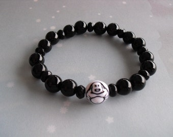 Black onyx ( laughting buddha ) bracelet