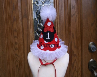 Girls 1st Birthday Party Hat - Minnie  Mouse Birthday Hat - Birthday  Hat