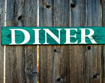 Made to Order Handmade Rustic Kitchen Wall Decor - Distressed Diner Wooden Sign - Reclaimed Wooden Sign