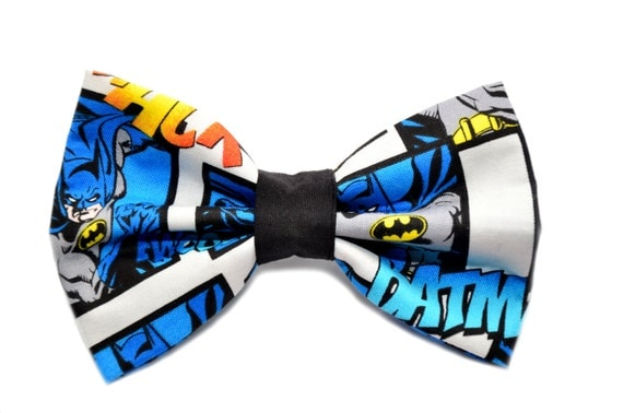 Batman Bow Tie, with Adjustable Strap, mens bow ties, boys bowties, kids bow ties, comic, sizes