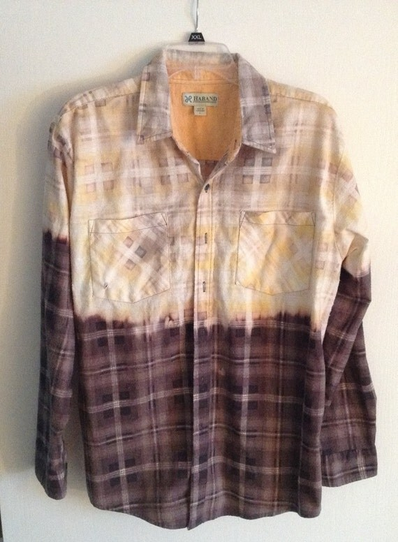 Grunge flannel bleached boyfriend shirt unisex for How to bleach at shirt