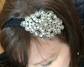 Women's Black Lace and Rhinestone Headband - Prom Headband - Bridesmaid Headband - Bridal Rhinestone Headband - Vintage Bridal Headband
