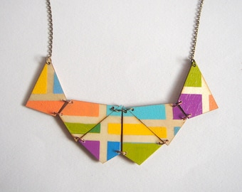Neon Geometric Necklace, Wood Triangles Necklace,Wood  Necklace,Geometric Jewelry