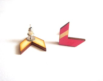 Pink  Chevron Earrings, Wood Chevron Earrings, Geometric Jewelry