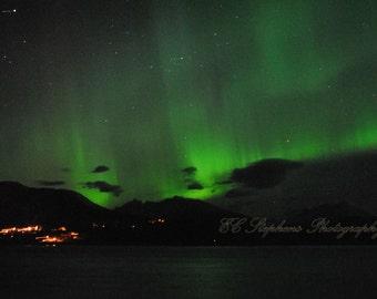 Vibrant Bright Green Aurora, Aurora Borealis, Green, Night, Lights, Landscape, Nature Photography, 8x10 Photograph, Photography