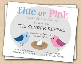 Gender Reveal Party Invitation Card - Birds in Nest - 8 Cards PLUS 8 Envelopes