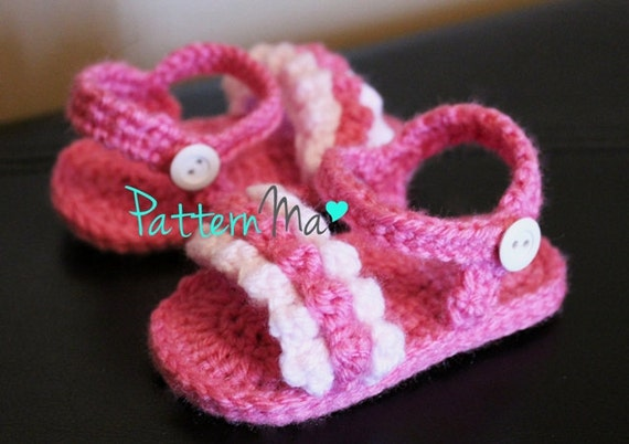 Crochet Baby Sandals Pattern ruffled