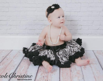 Elegant Double Black  Shabby Chic Headband with Rhinestone Center