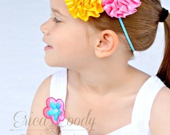 Pink, Yellow and Turquoise Satin Ribbon Flower Headband, Summer Headband, Photo Prop, Girls Headband, Infant Headband, Toddler Headband