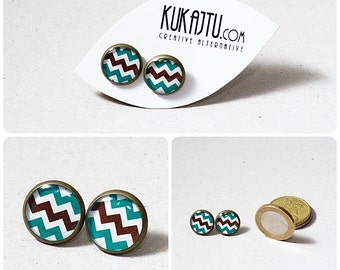 Brown Teal Chevron earring studs chevron jewelry zig zag geometric Brown and Teal Earring stud Jewelry Teal Brown Chevron