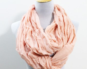 Light Pink Infinity Scarf, Lightweight Scarf, Womens Scarves, Crinkle Scarf, For Her, For Women, Christmas Gifts, Fashion Scarves, Moms Gift