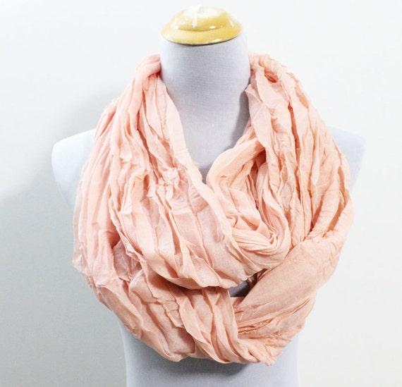 light pink infinity scarf plain light orange by