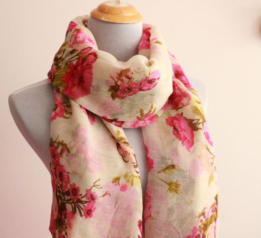 White Flower Scarf Spring Floral Scarf