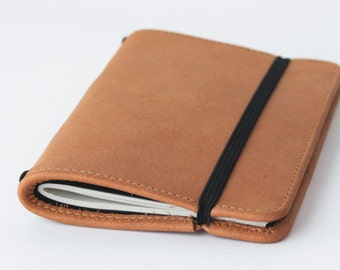 Handmade Genuine Leather Journal Cover / leather moleskin cover - pocket size (Natural color)