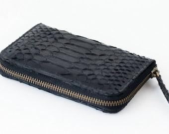 Black - Genuine Python snakeskin zip around wallet - Small