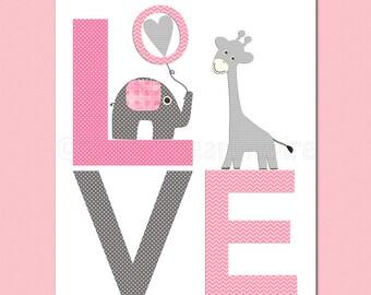 pink and grey giraffe Nursery Art,  nursery room decor,  8x10, kids room decor, nursery wall decor
