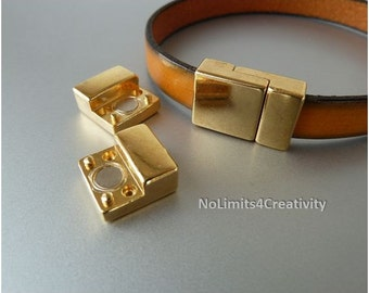2 clasps - Zamak magnetic clasp for 10mm flat leather gold color - clasps for flat leather - leather supplies (ZC43)