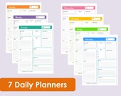 MULTICOLOURED Printable Daily Planners - Time Management - 7 sheets - Product Number 93 - INSTANT DOWNLOAD