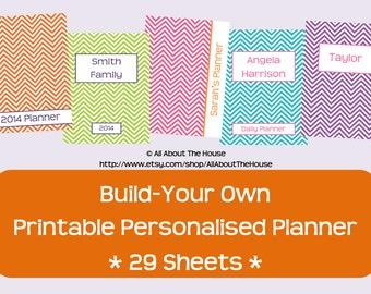 Printable Planner-Personalised Diary Planner-ChevronPlanner-Agenda-2014-DIY-AnyYear-BuildYourOwnPlanner-Weekly Planner-Day Planner-438