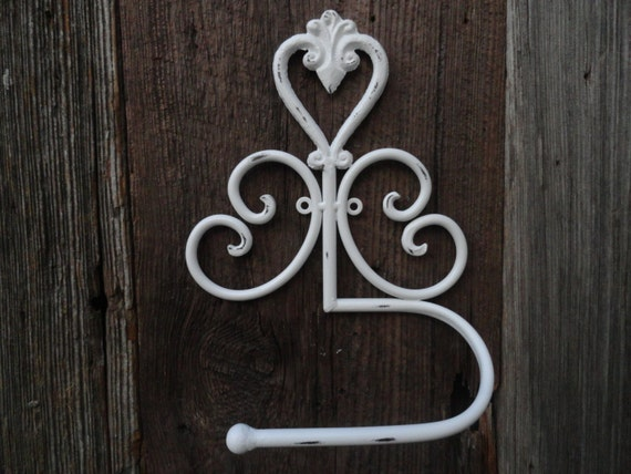 Shabby chic toilet tissue holder white tissue holder metal - Fleur de lis toilet paper holder ...