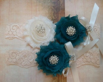 Wedding/Toss Garter Set -Ivory/Teal Flowers on a Vintage Ivory Lacw tih Pearls & Crystal Rhienstones - Style 3001