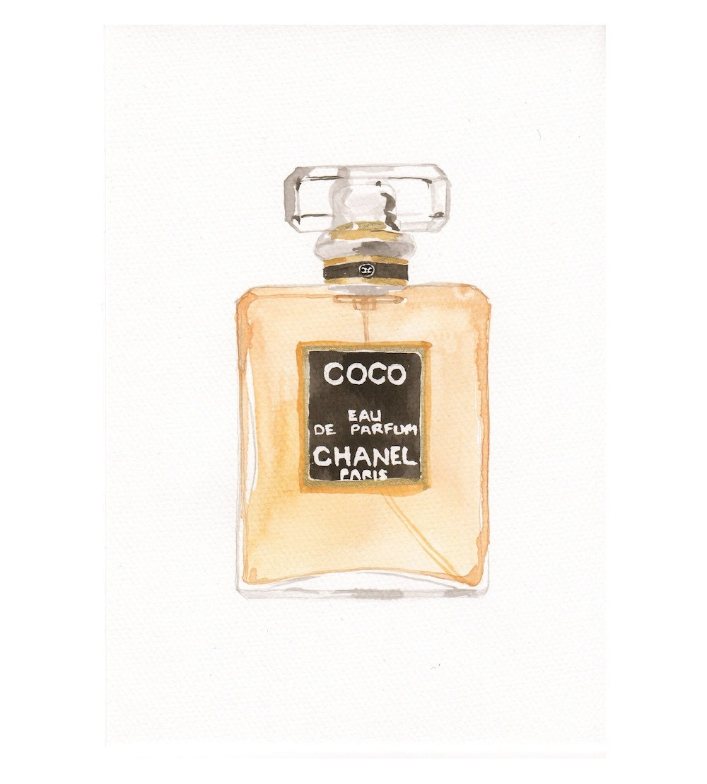 chanel coco eau de parfum fragrance watercolor perfume. Black Bedroom Furniture Sets. Home Design Ideas