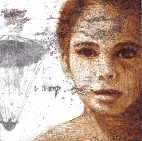 """Contemporary Painting -  Fine Art Print - Girl - Figure Painting, Rustic, Texture, """"Fly Away"""", 8 x 8"""
