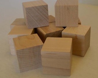 "1"" Solid Wood Blocks - Set of 10 - Unfinished - Wood Cube - Craft Blocks - 1 Inch Block - 1 Inch Cube - Building Blocks - Kids Blocks"