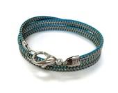 Turquoise Aqua Blue Zipper Wrap Bracelet