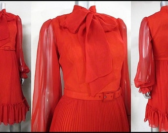 Gorgeous Alfred Werber 1960's scarlet red secretary dress with full pleated swishy skirt and oversized bow collar.