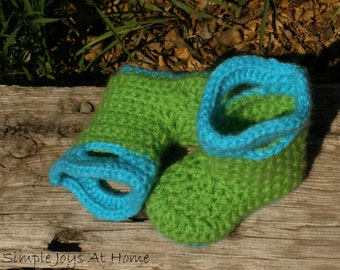 Turquoise and Green Crocheted Baby Rain Boots // Mud Boots // Booties // Galoshes // Baby Shower Gift // Photo Prop // Photographer Gift